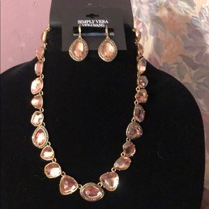 Simply Vera jeweled necklace & earring set.NWTFIRM